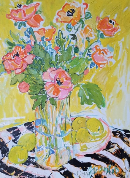 81678c_poppies_and_lemons_on_striped_cloth_40x30